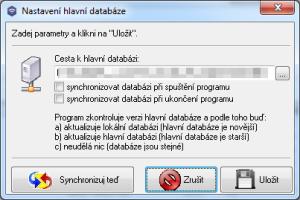 Nastavení hlavní databáze