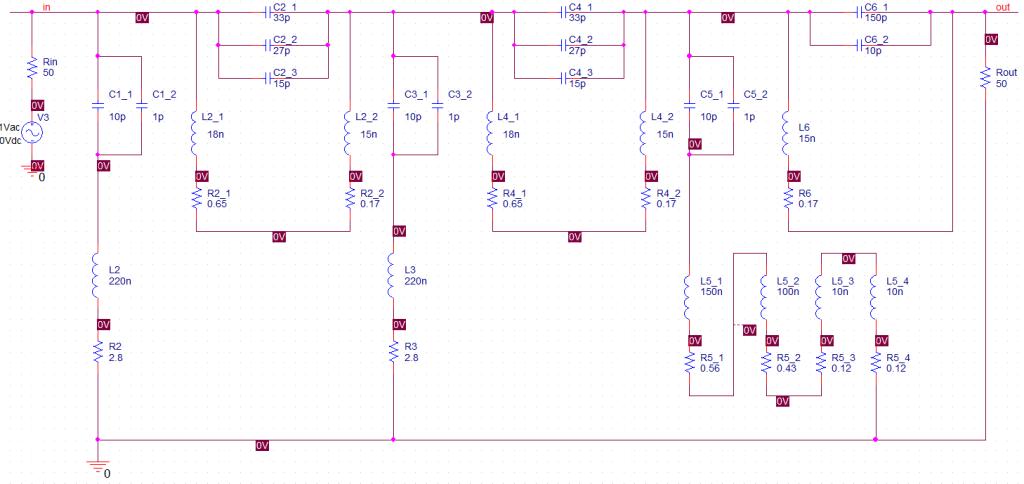 Schéma filtru s přihlédnutím k parametrům součástek
