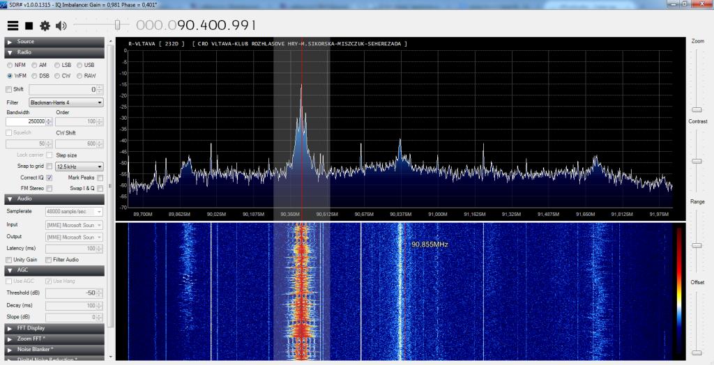 Příjem FM signálu se zařazeným VKV filtrem